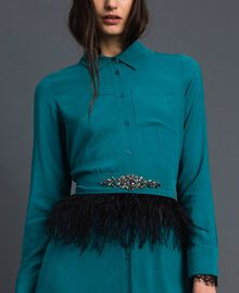 Georgette shirt dress with belt Mineral Green Pale Blue Woman 192TP2113-04