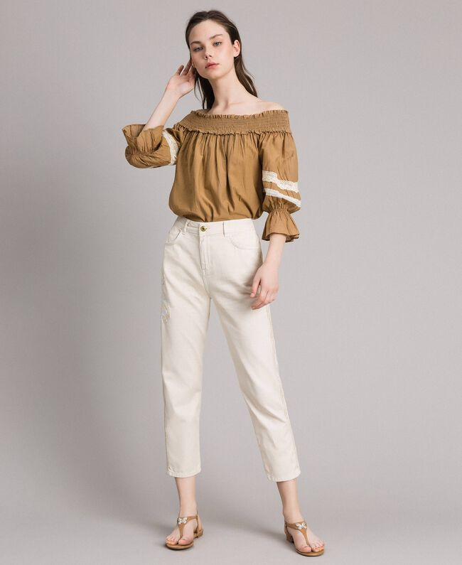 """Girlfriend trousers with embroideries """"Shell"""" Beige Woman 191MT2192-01"""