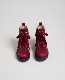 Laminated leather ankle boots Laminated Ruby Wine Print Child 192GCJ042-04