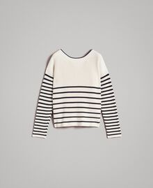 Striped top with eyelets Deep Blue / Snow Striping Woman 191TP3121-0S