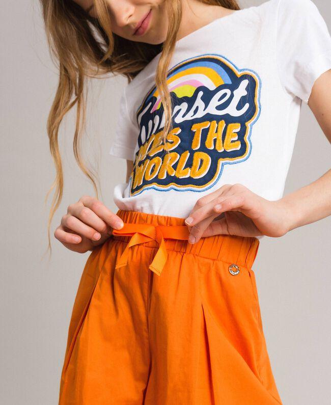 "Jupe-pantalon en popeline stretch ""Orange Estivale"" Enfant 191GJ2410-04"