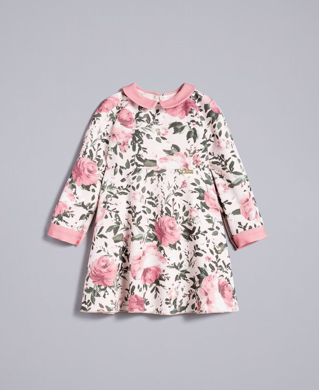"Printed crêpe dress ""Blush"" Pink with Rose Print Child FA82D1-01"