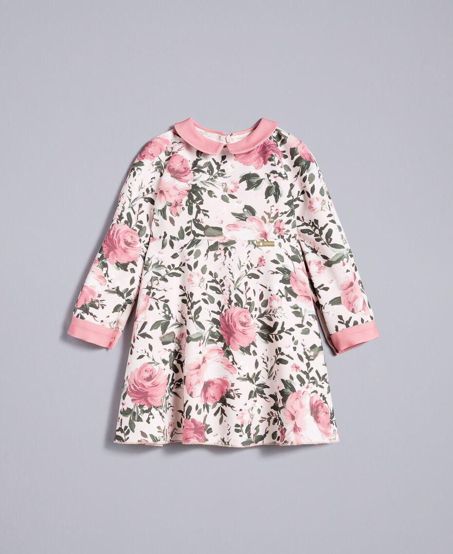 """Платье из набивного крепа Набивной Розы / Розовый """"Румянец"""" Pебенок FA82D1-01"""