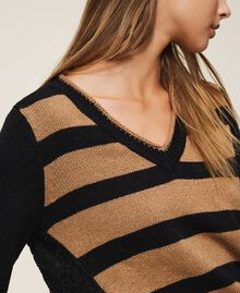 Striped jumper with lace Two-tone Black / Brown Sugar Woman 202ST3051-04