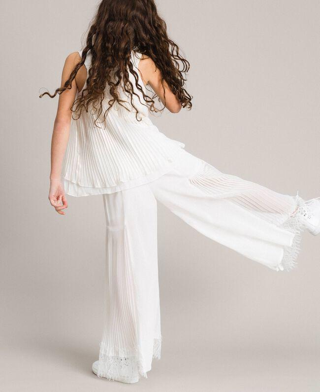 Pantalon en georgette plissée et dentelle Off White Enfant 191GJ2QA1-04