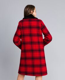 "Checked coat Bicolour ""Poppy"" Red / Black Tartan Woman YA82DQ-03"