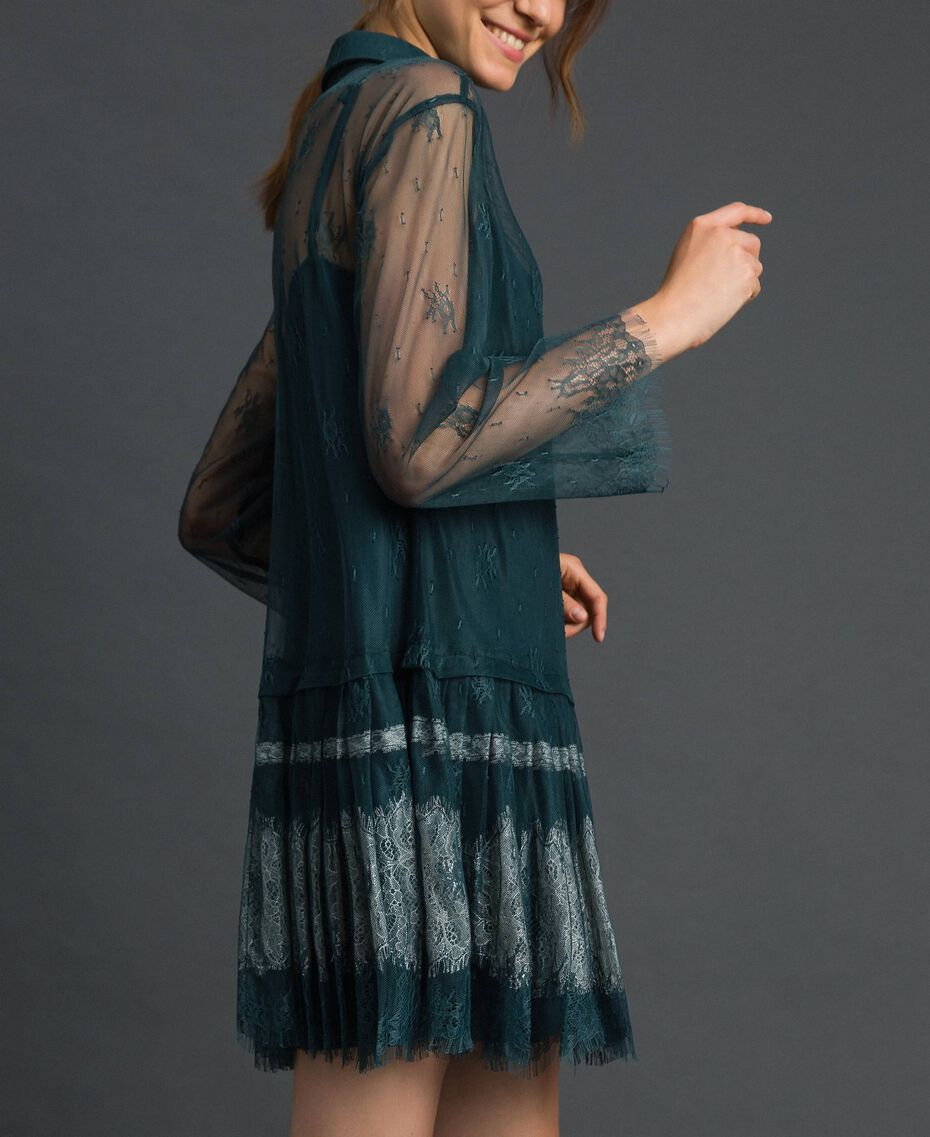 Robe en dentelle de Chantilly avec bas plissé Vert Forêt / Blanc Crème Femme 192ST2110-02