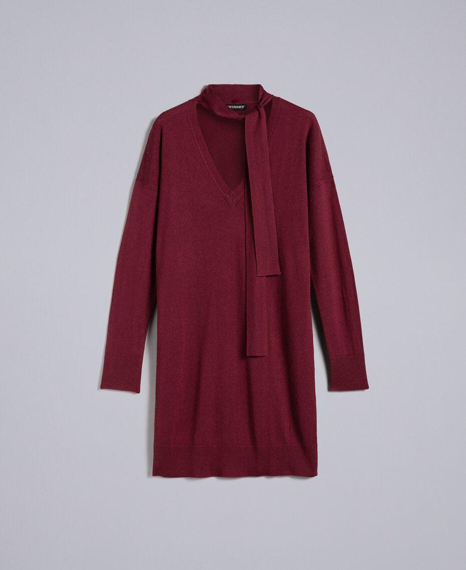 Kleid aus Seide und Kaschmir Bordeaux Frau PA83GE-0S