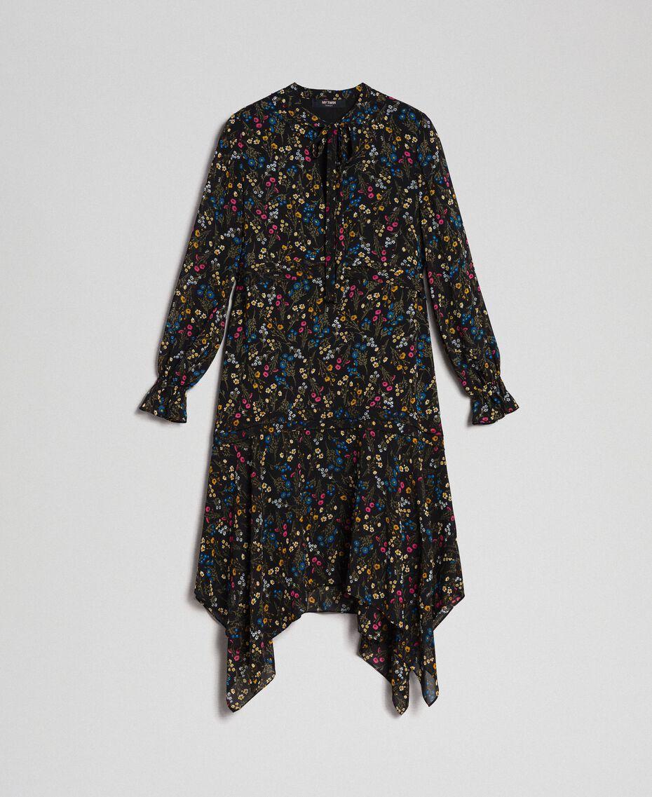 Asymmetrisches Kleid mit Blumenprint Mikroblumenprint Schwarz Frau 192MP2226-0S