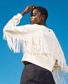 Cropped sweatshirt with fringes Creamy White Woman 202TP265F-01