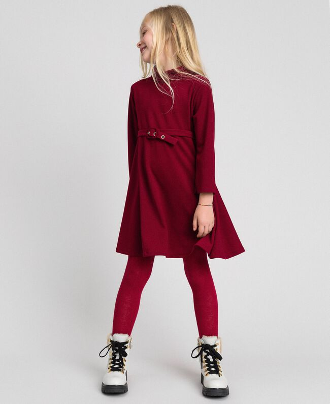 Crêpe dress with belt Ruby Wine Red Child 192GJ2452-01