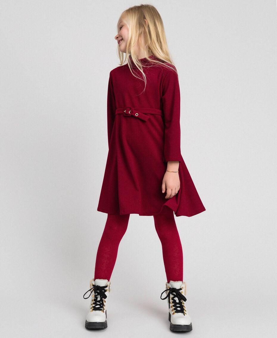 Vestido de crepé con cinturón Rojo Vino rubí Niño 192GJ2452-01