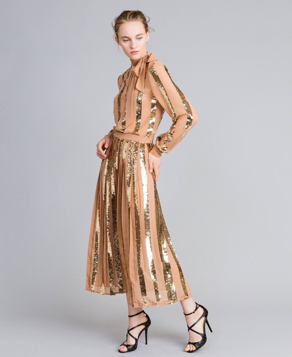 Mid-length georgette sequin skirt Camel Woman PA82J3-02