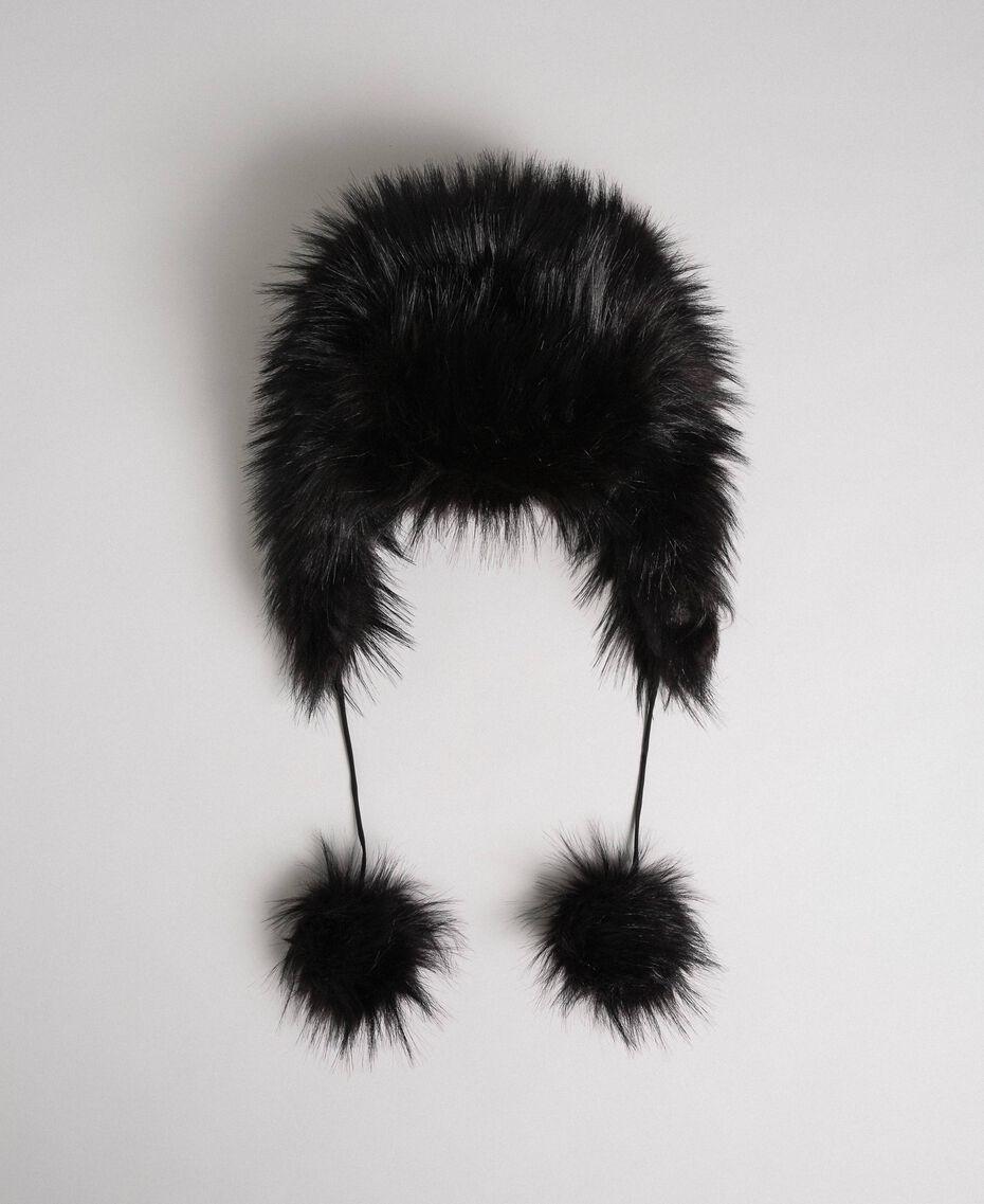 Bonnet en fausse fourrure avec pompons Noir Femme 192MO5300-01