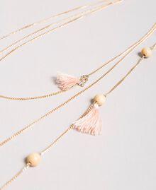 Collier à chaînes multiples orné de pompons Perle Rose Femme 191TA431K-02