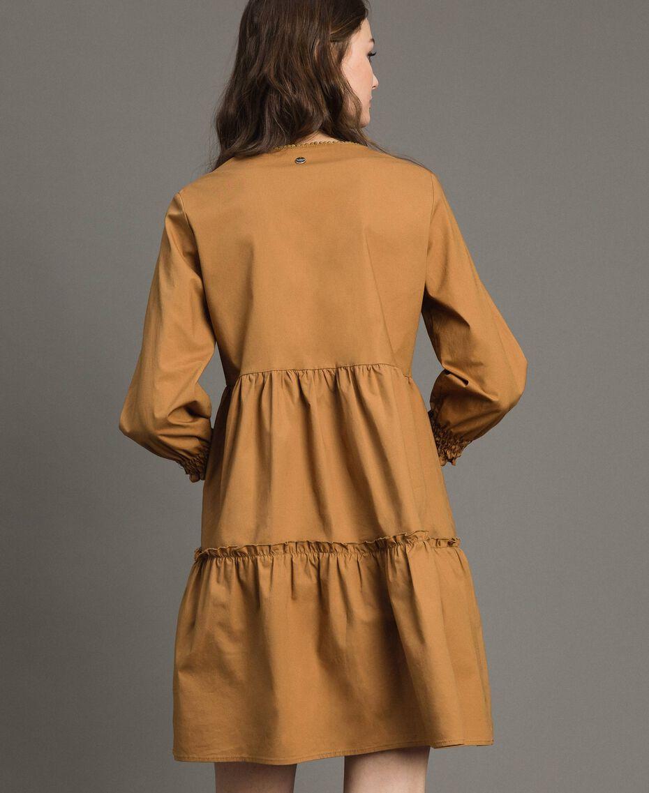 """Robe en popeline avec insertions en dentelle Beige """"Savane"""" Femme 191ST2046-03"""