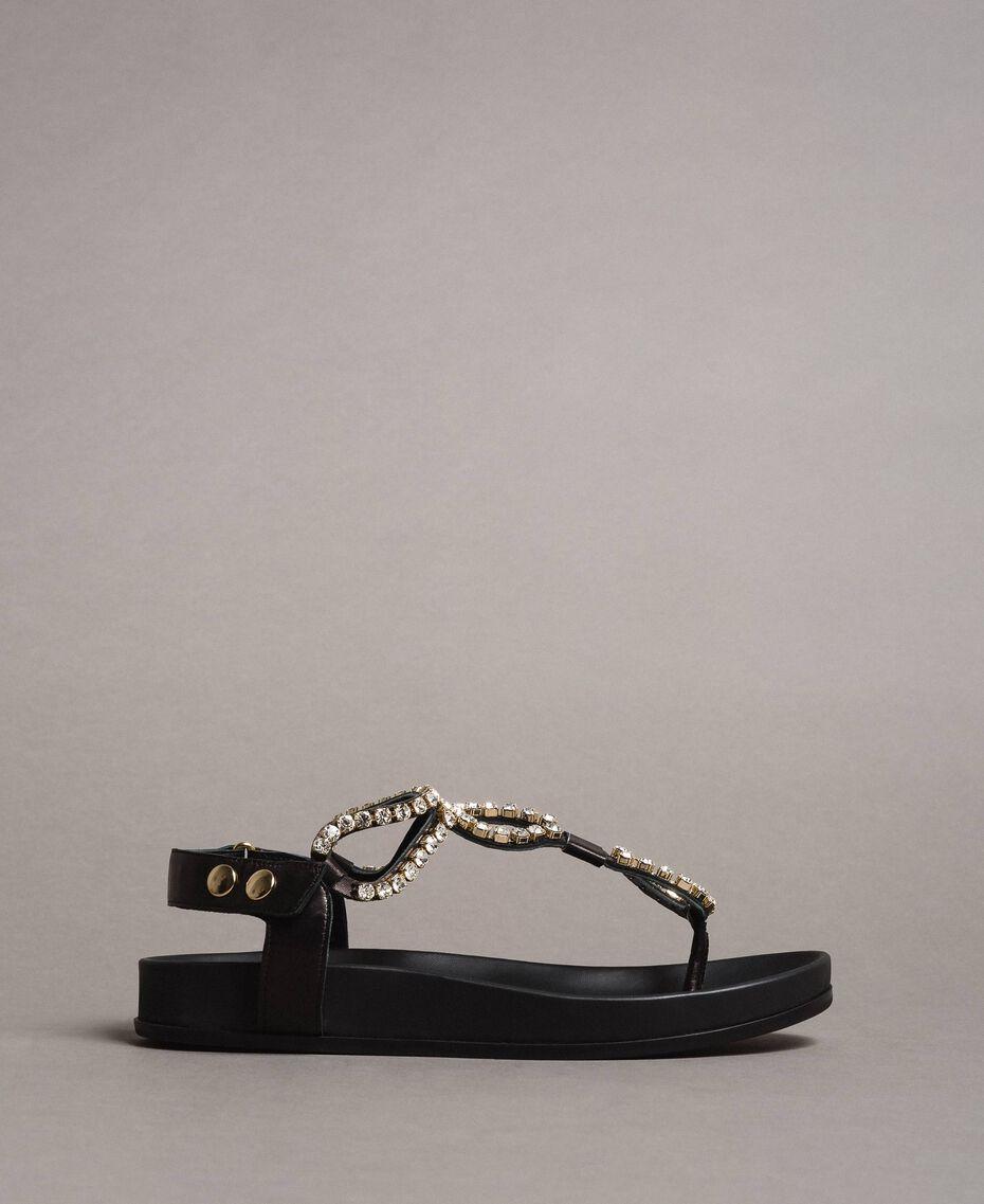 Sandales en cuir avec strass et bouton Noir Femme 191TCT092-01