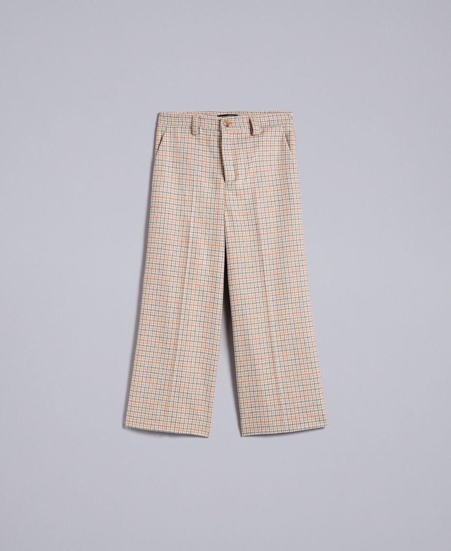 Check flannel cropped trousers Multicolour Check Woman TA8212-0S