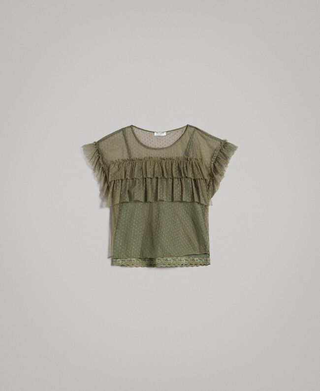 """Tulle blouse with slip top """"Olive Green"""" Woman 191ST2070-0S"""