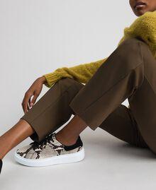Sneakers in pelle con stampa animalier Stampa Pitone Roccia Donna 192TCT118-0S