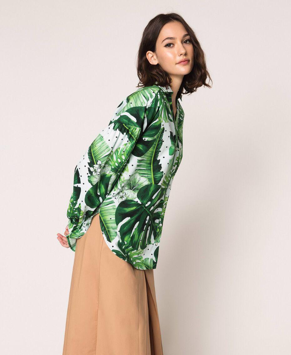 Camicia in popeline stampato Stampa Tropical Pois Verde Donna 201TP2550-02