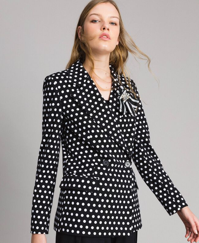 Veste blazer à pois Bicolore Noir / Blanc Femme 191MP2360-04