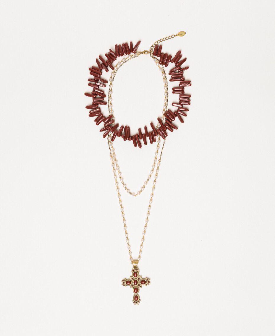 "Многорядное ожерелье-четки с жемчугом Красный ""Коралл"" женщина 201TO5309-02"