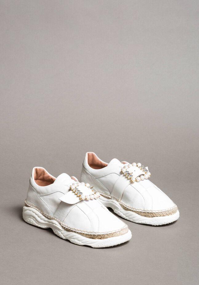 Leder-Sneakers mit Schnalle