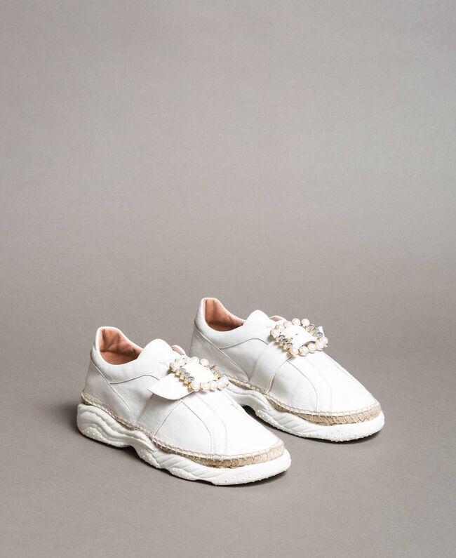 Leder-Sneakers mit Schnalle Weiß Frau 191TCT05C-01