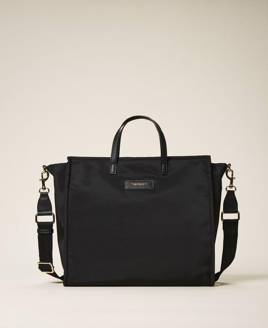 Satin Twinset Bag shopper with shoulder strap Black Woman 202TB7200-01