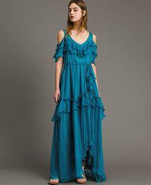Длинное платье из шелка и крепона с оборками Синие Квадраты женщина 191TT2423-01