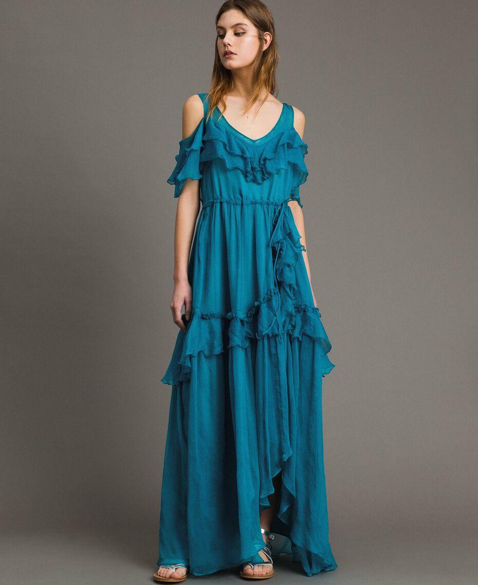Silk crepon long dress with flounces Tile Blue Woman 191TT2423-01