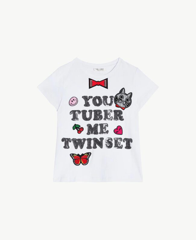 "T-shirt paillettes Blanc ""Papers"" Enfant GS82RA-01"