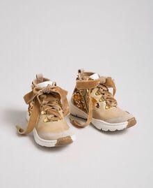 """Sneakers in pelle con paillettes Beige """"Farro"""" Bambina 192GCB054-01"""