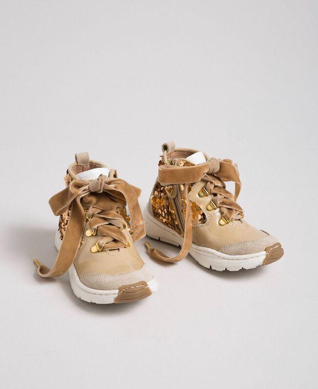 Baskets en cuir avec sequins Beige «Épeautre» Enfant 192GCB054-01