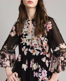"Floral print georgette dress ""Peach Mix"" Pink Black Print Woman 191TP2716-04"