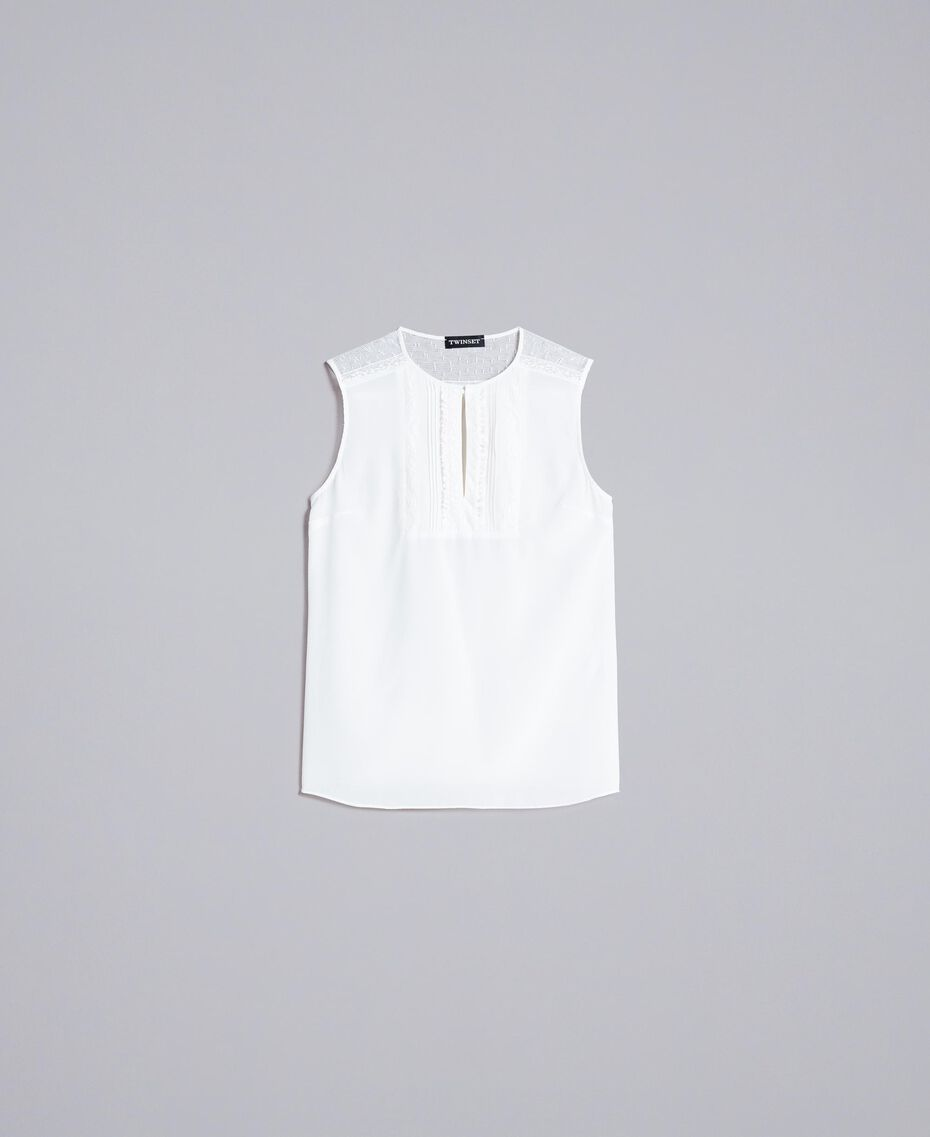 Silk top with micro ruches White Snow Woman PA82EE-0S