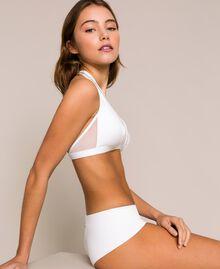 Triangle bikini top with tulle Black Woman 201LBM733-01