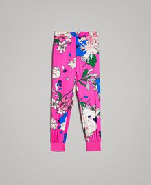 Floral satin jogging trousers Wind Flower Pink Print Woman 191TP2473-0S
