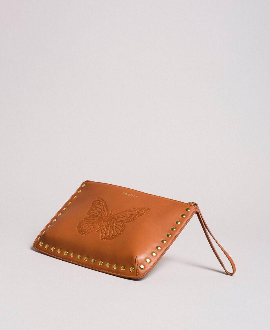 Pochette en cuir ornée de clous Cuir Femme 191TO8263-02