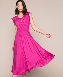 Poplin dress with ruffles Flirty Rose Print Woman 201LB2BDD-01