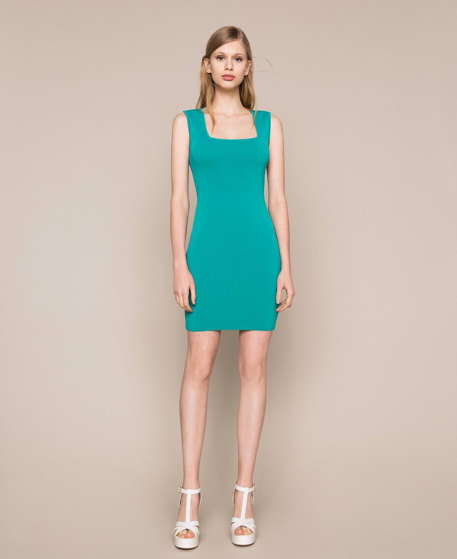 Robe fourreau en maille Vert Feuille de thé Femme 201TT3180-01