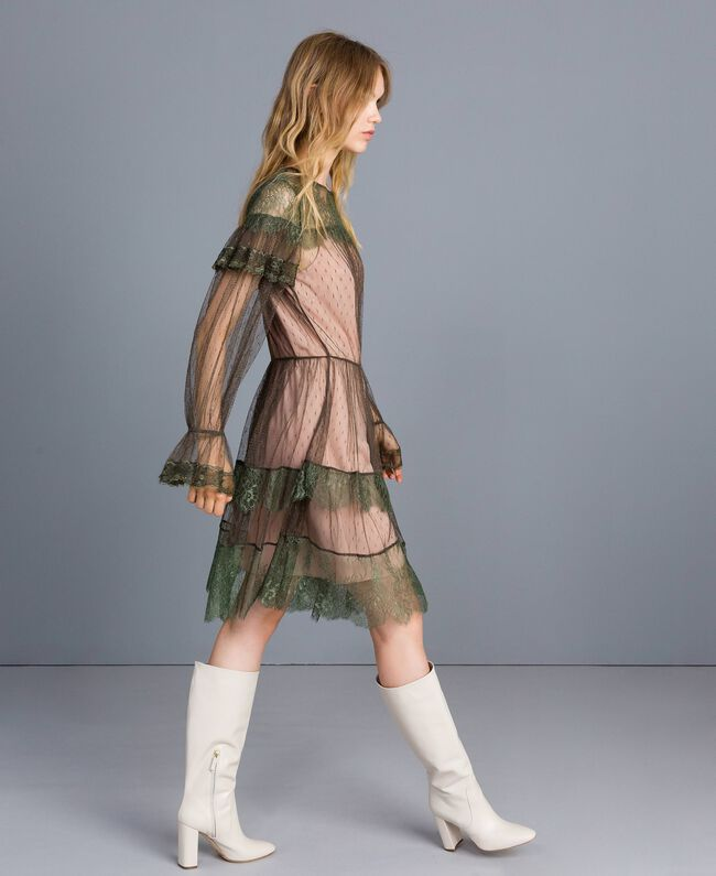 Tulle plumetis and lace dress Forest Green Woman TA82XB-01