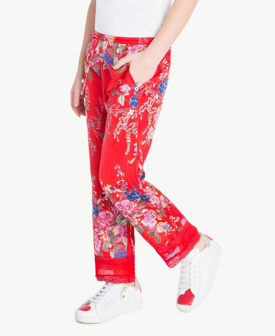 Pantalon imprimé fleurs Imprimé Fleurs / Rouge Grenadier Enfant GS82E2-02