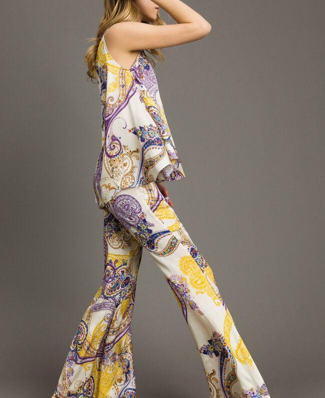 "Paisley print palazzo trousers ""Milkyway"" Beige / Paisley Print Woman 191LM2SAA-01"