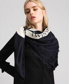 Heart print and lace kefiah Black / Vanilla MyTwin Print Woman 192MA432E-0S