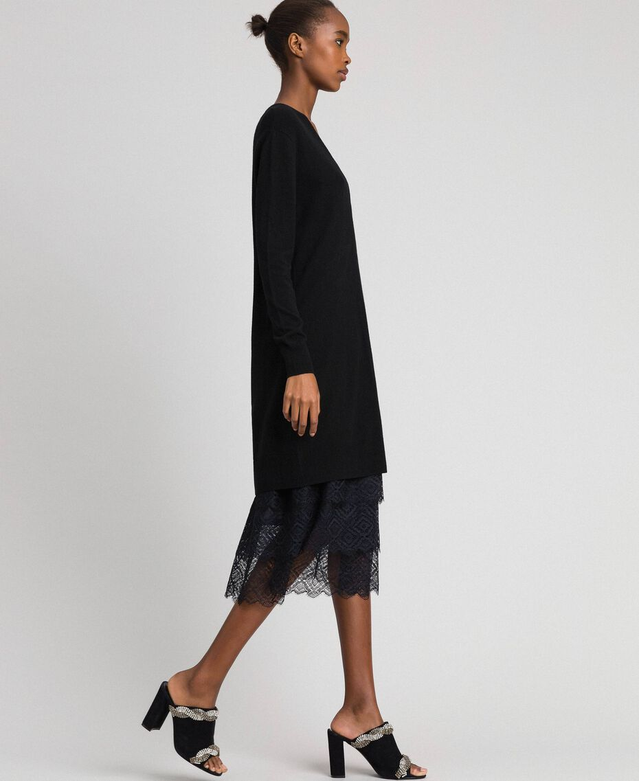 Knit dress with crêpe and lace slip Black Woman 192TT3084-02