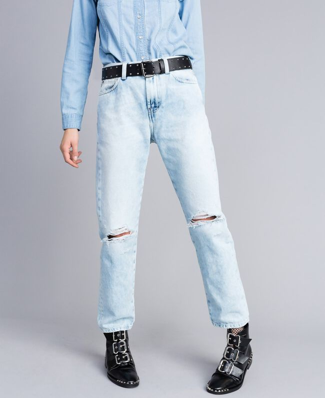 Jeans aus Denim im 80er-Jahre-Stil Denimblau Frau JA82QZ-01