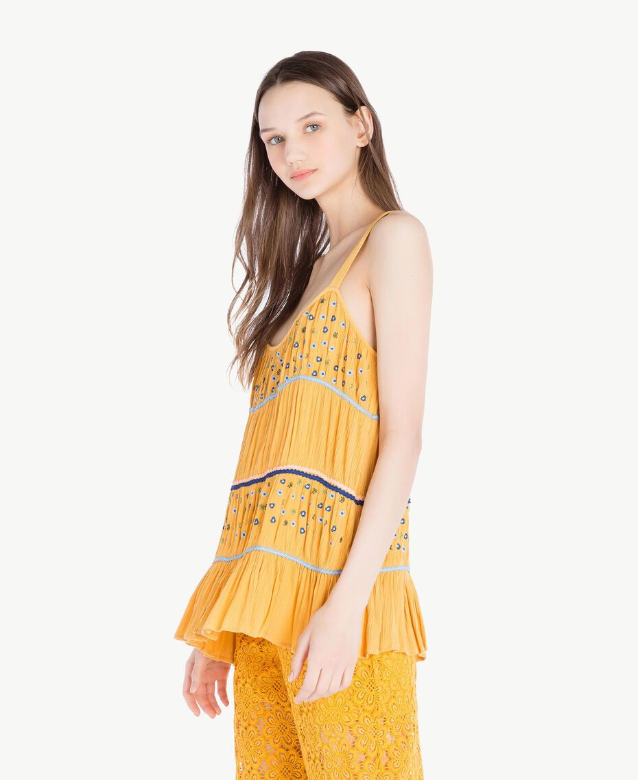 Embroidered top Mineral Yellow Woman SS82HC-02