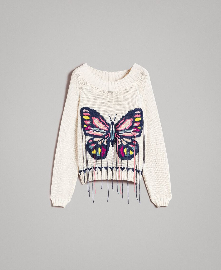Boxy top with hand embroidered butterfly Pale Ecru Woman 191TP3110-0S